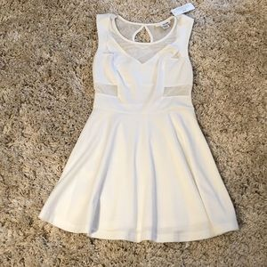 NWT White Fit & Flare Mesh Dress